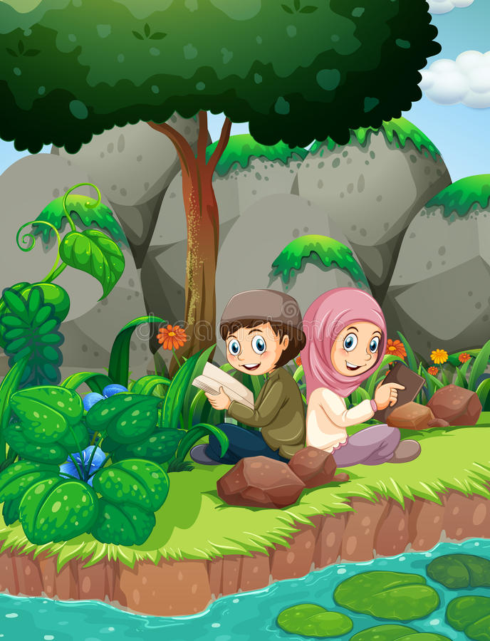 Two muslim kids reading by the river vector illustration