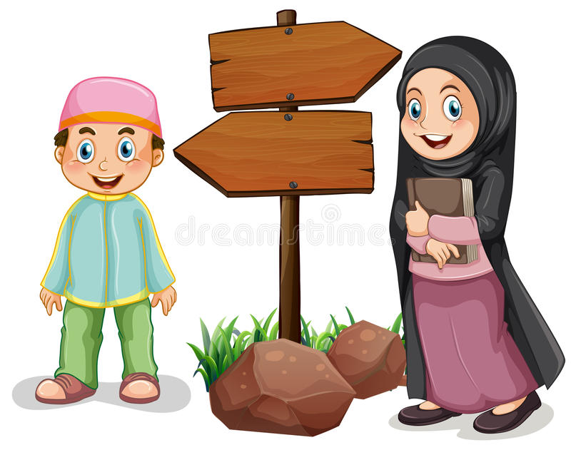 Two muslim kids and wooden signs stock illustration