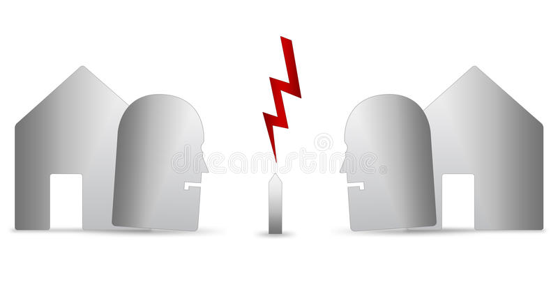 Two neighbours arguing. An abstract illustration of two neighbors arguing over a garden fence on a white background stock illustration
