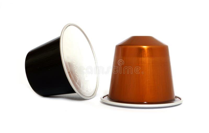 Two Nespresso coffee capsules stock photo