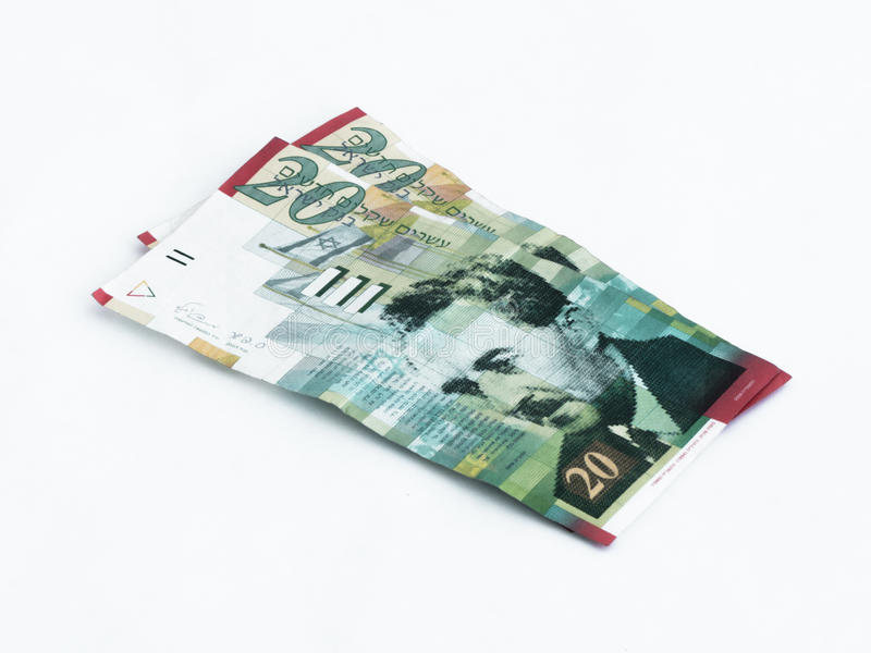 Two new banknotes worth 20 Israeli new shekels on a white background stock photography