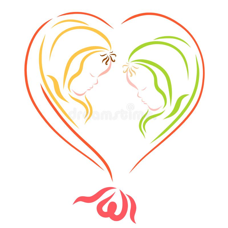 Two newborn babies in a balloon in the shape of a heart.  stock illustration