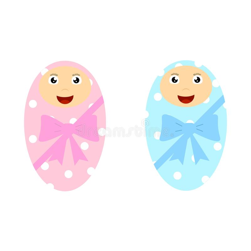 Boy and Girl Newborn Babies Wrapped in Blanket vector illustration