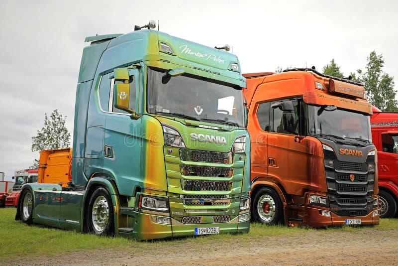 Two Next Generation Scania S580 Trucks of Martin Pakos stock images