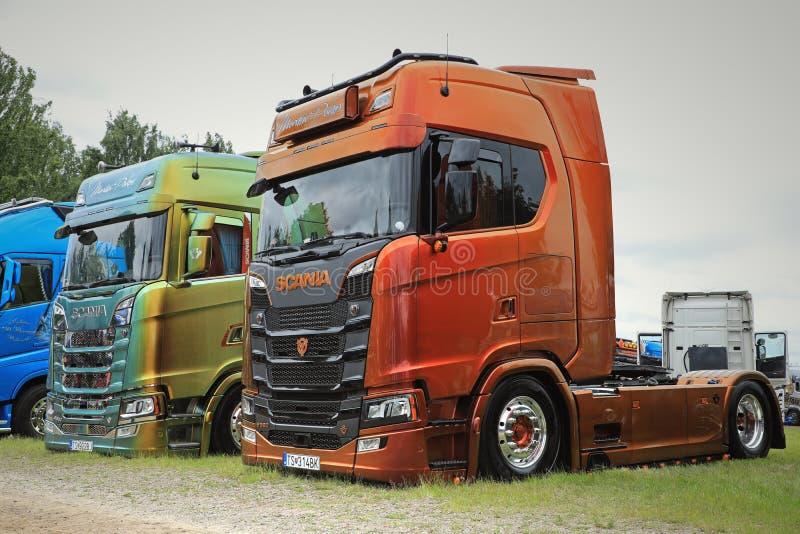 Two NextGen Scania S580 Trucks of Martin Pakos stock photography