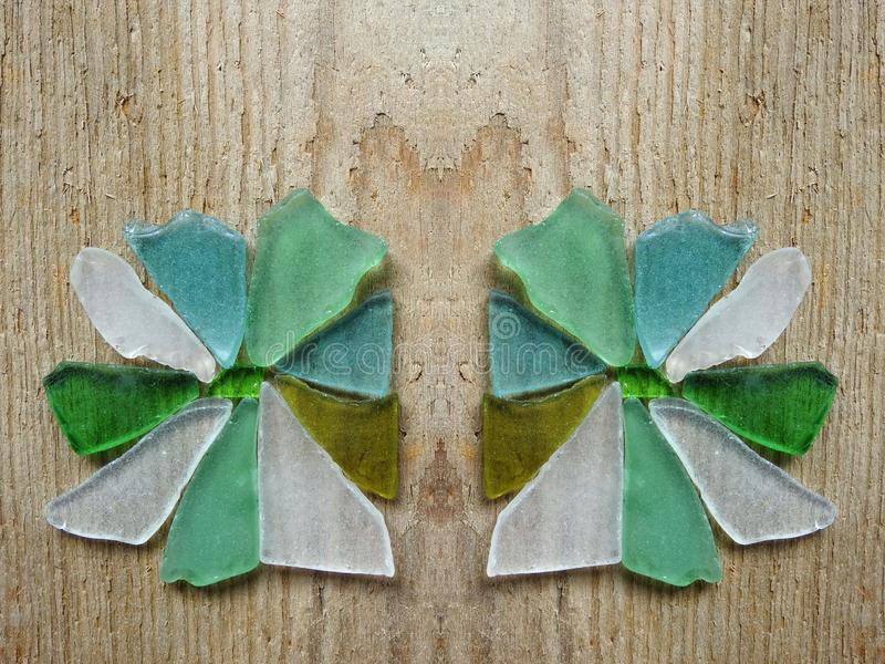 Two beautiful flowers done using sea glass, Lithuania stock images