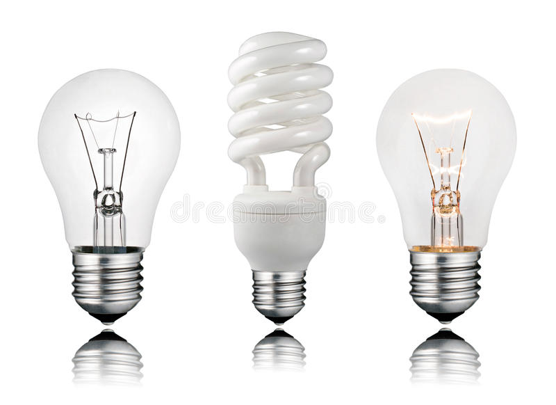 Download Two Normal And One Saver Lightbulbs Stock Photo - Image: 18507220