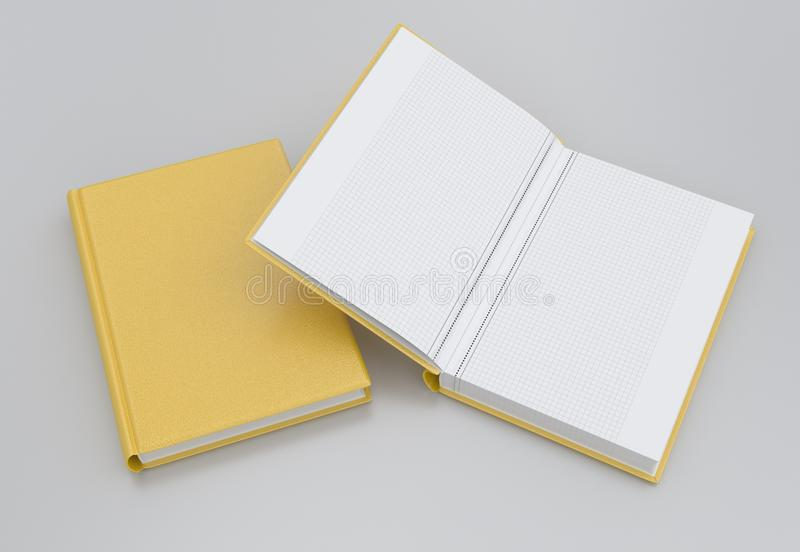 Two notebooks. With a yellow cover. Closed and open royalty free illustration