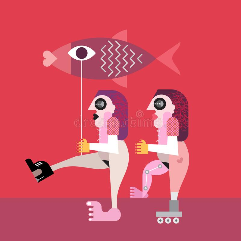Two Nude Women with Big Fish. Surreal art vector illustration