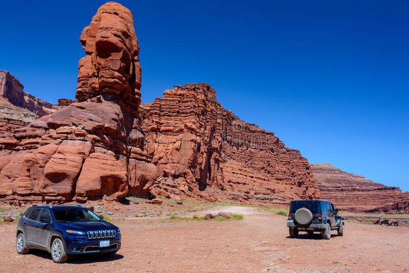 Two off-road vehicle on dirt road in Canyonlands National Park, Utah State, USA. Two off-road vehicle on dirt road in Canyonlands National Park, Utah State stock photography