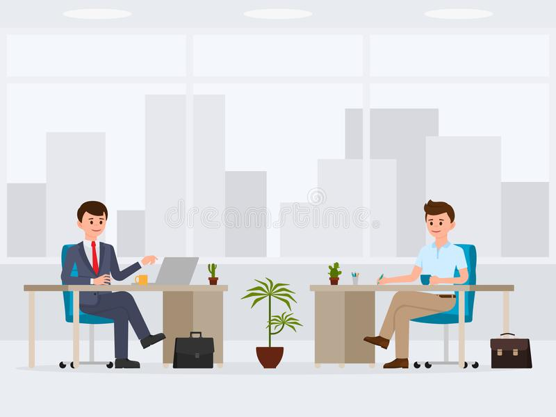 Two office workers at the desks cartoon character. Vector illustration of busy coworkers. vector illustration