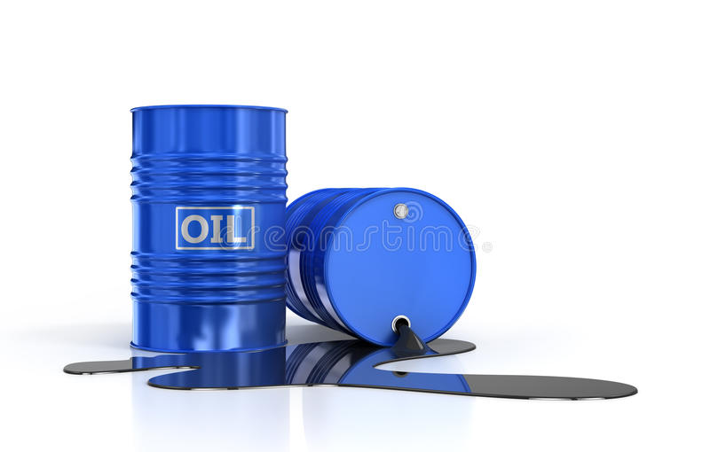 Two oil barrels and poured oil. On a white background royalty free stock photo
