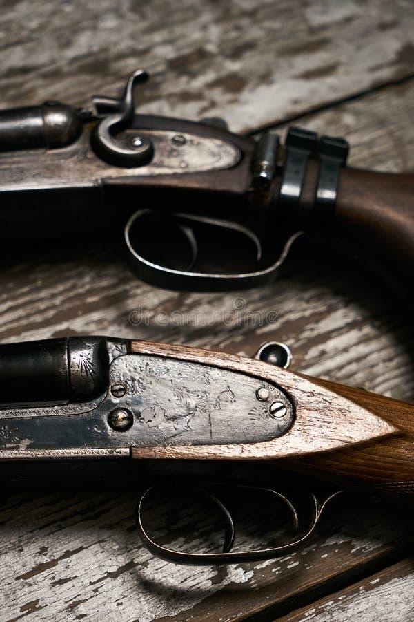 Two Old Antique Shotguns Rifle Stock Image Image Of