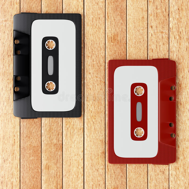Two old audio cassette tapes. On the wooden table. 3d render vector illustration