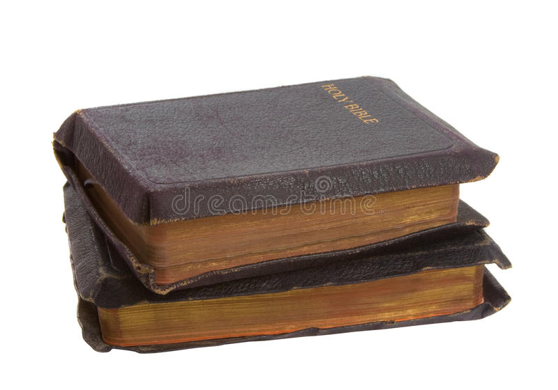 Two Old Bibles stock photo