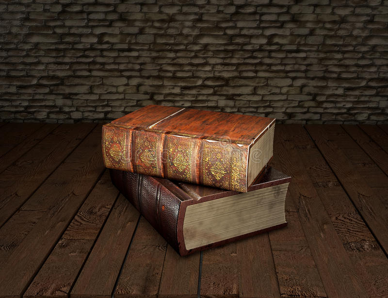 Two old books on wooden table with feather quill in glass inkwell Education concept. 3D illustration stock illustration