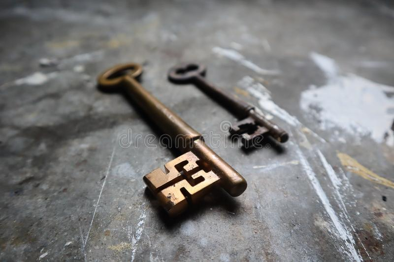 Old Brass Keys on Industrial Work Bench royalty free stock image