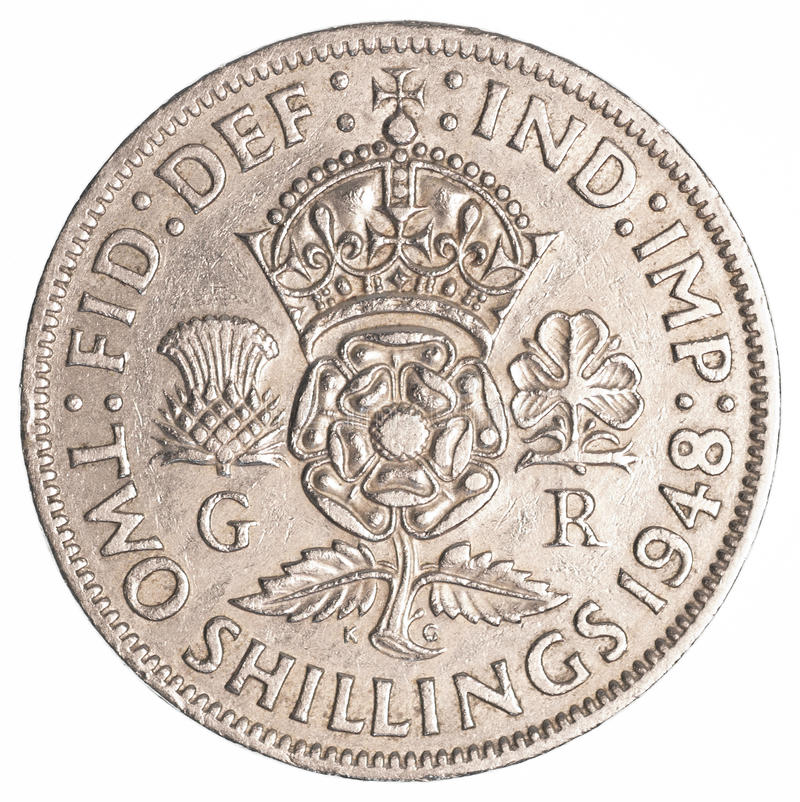Free Two Old British Shillings Coin Stock Photos - 91900473