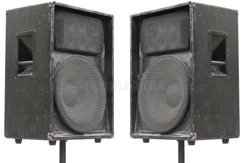 Two old concerto audio speakers. On white background stock images