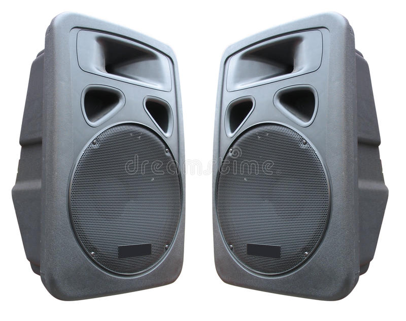 Two old concerto audio speakers on white. Background stock image