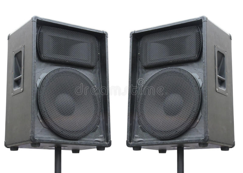 Two old concerto audio speakers on white. Background royalty free stock photography