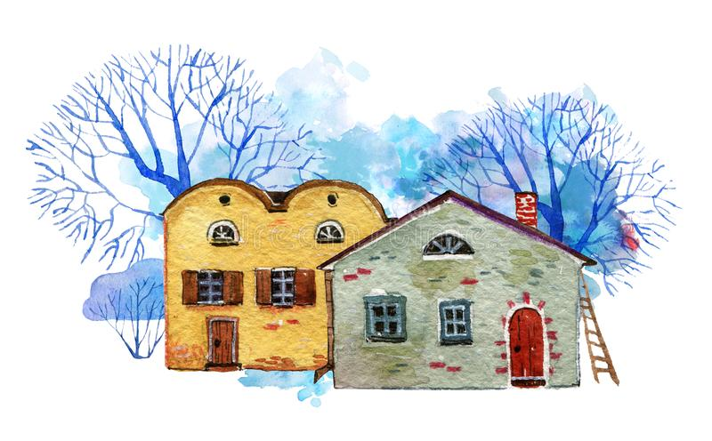 Two old country stone houses with winter trees and color spot on background. Hand drawn cartooon watercolor illustration. Two old country stone houses with royalty free illustration