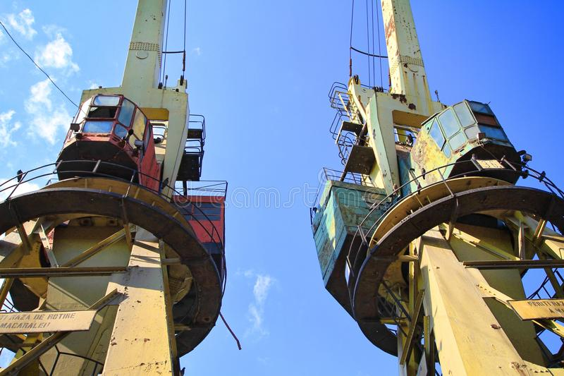 Download Two Old Cranes In The Dockyard Stock Image - Image of block, gear: 32873825