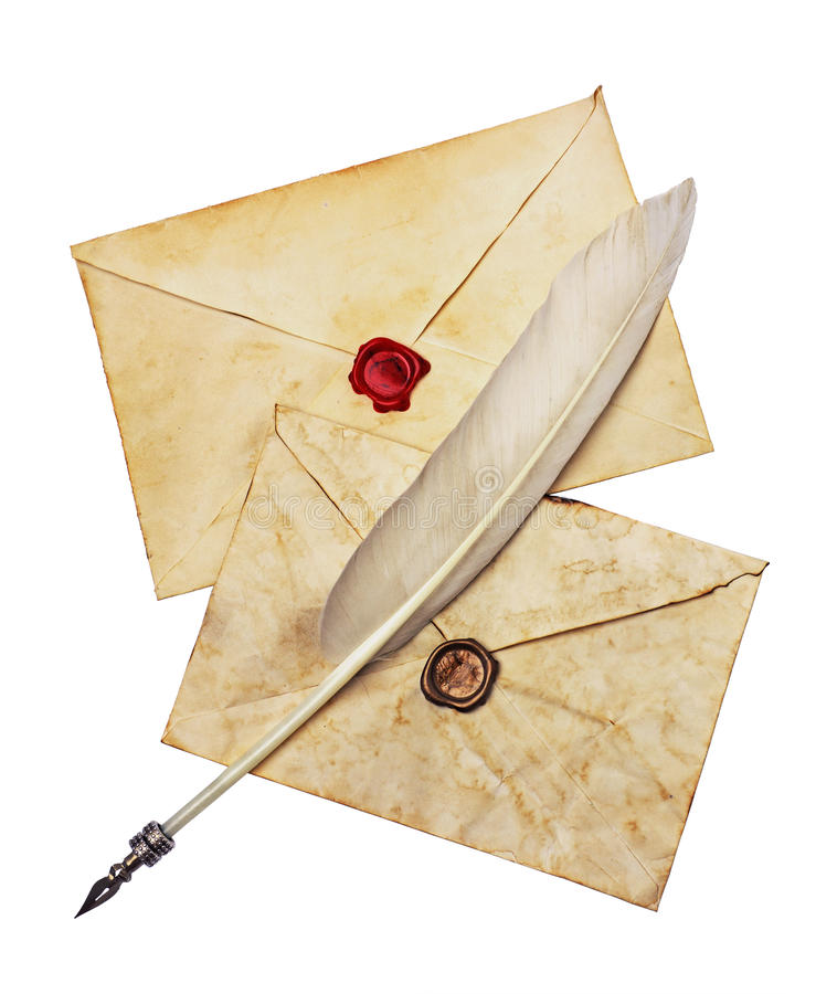 Two old envelopes with red and brown seal wax and feather pen stock photos