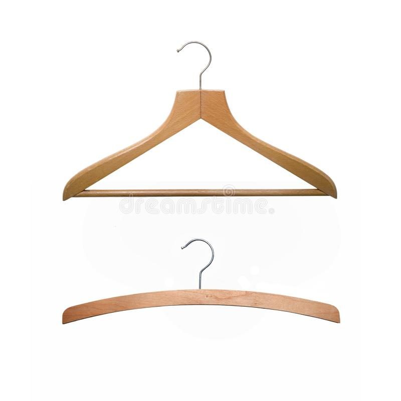 Two old-fashioned wooden hangers isolated on white royalty free stock image