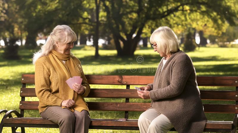 Two old friends playing cards game, sitting on bench in park, golden years royalty free stock photos