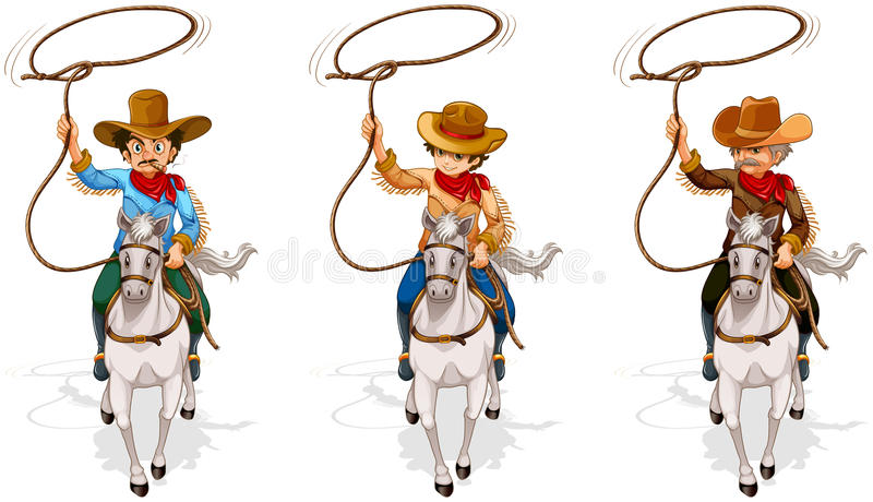 Two old and one young cowboys stock illustration