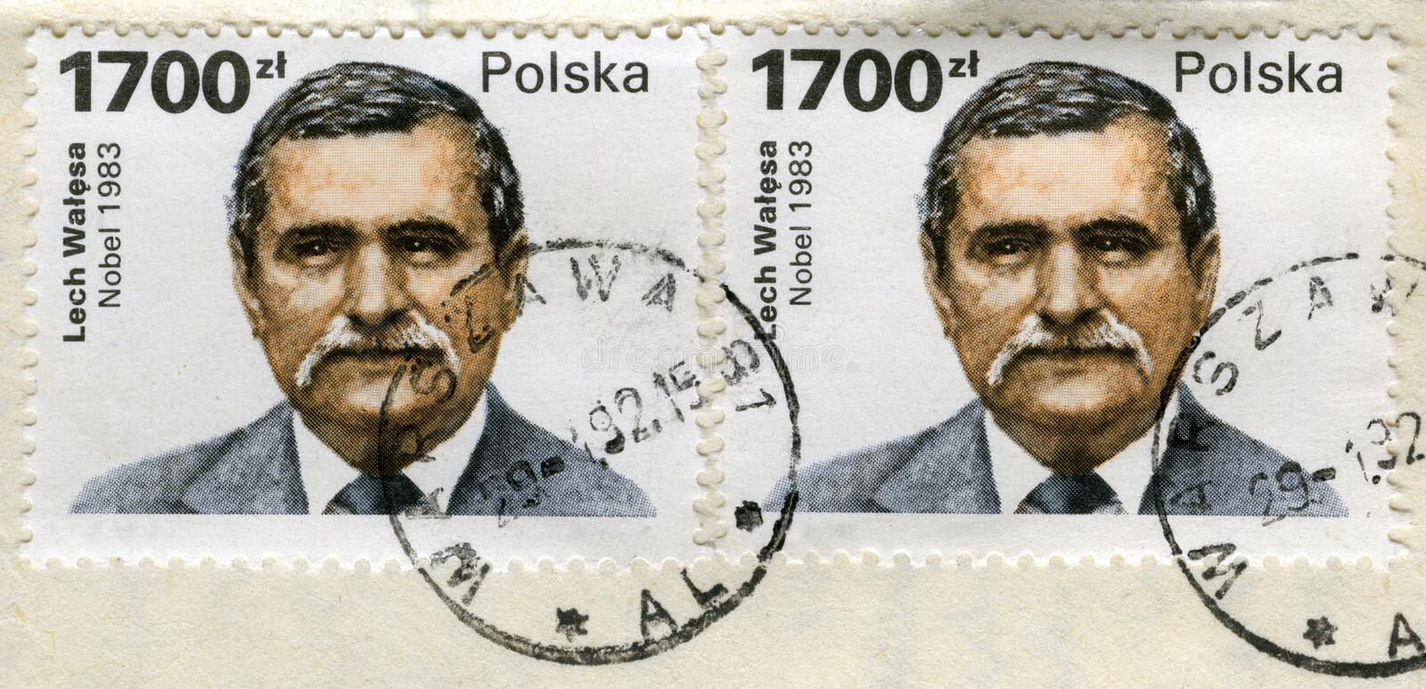 Two old post stamps with Lech Walesa portrait. Lech Walesa, Polish politician, Solidarity labor union leader, Peace Nobel Price winner on two old (1990) canceled royalty free stock photo