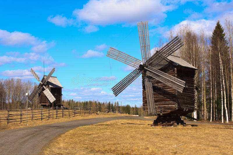 Two old russian windmills royalty free stock image