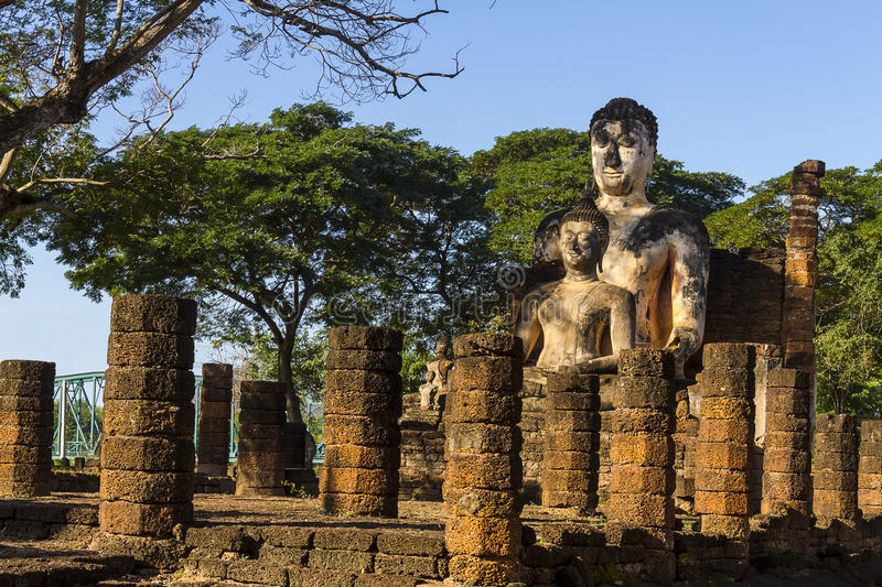 Two old sculpture buddha royalty free stock photo