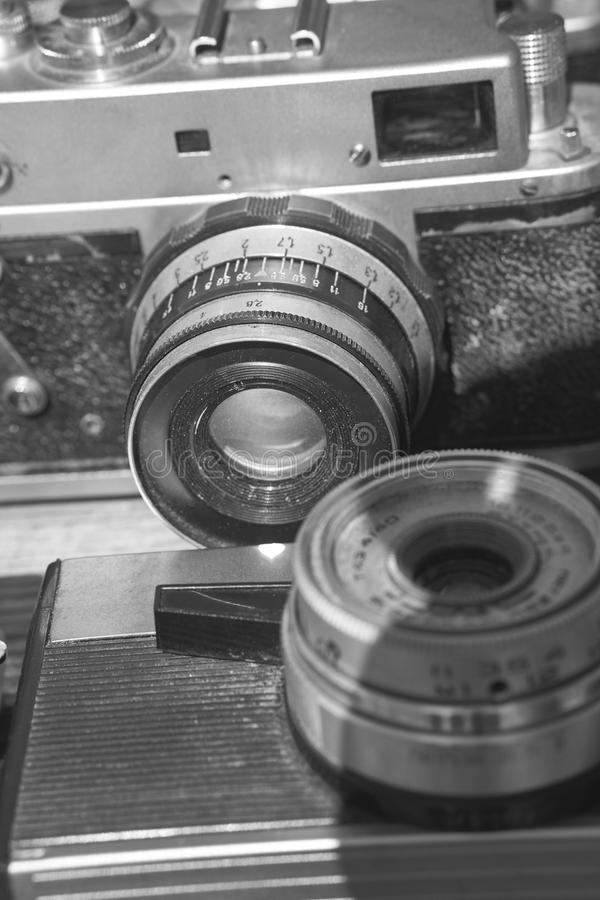Two old vintage retro film cameras stock image