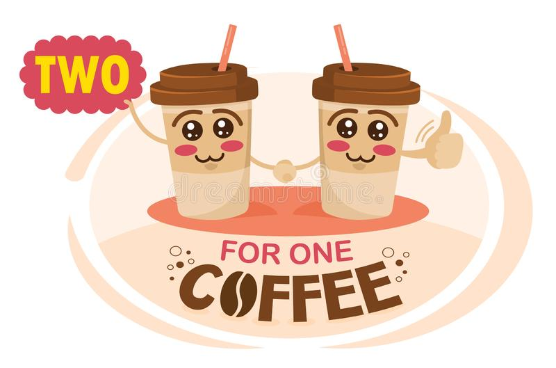 Two-for-one coffee. Buy two get one free coffee concept illustration. Funny cartoon characters coffee cup holding a sign. Two-for-one coffee. Buy two get one vector illustration