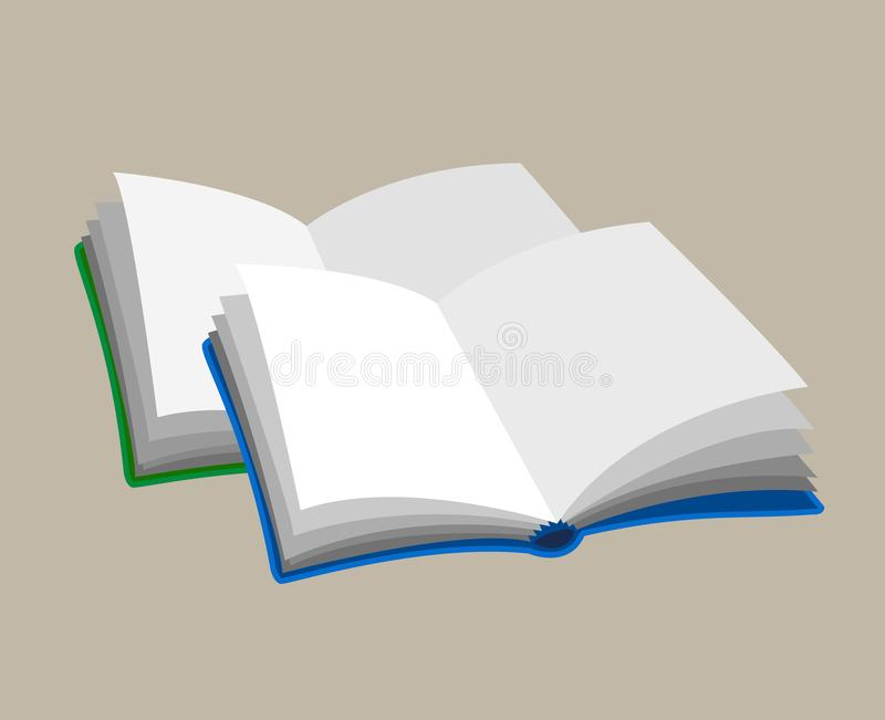 Two Open Empty Books Blue And Greeb Color Icon Picture Isolated ...