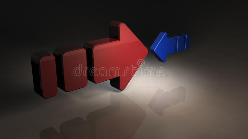 Two opposing arrows. They are unfair because their size is totally different. 3D illustration royalty free illustration