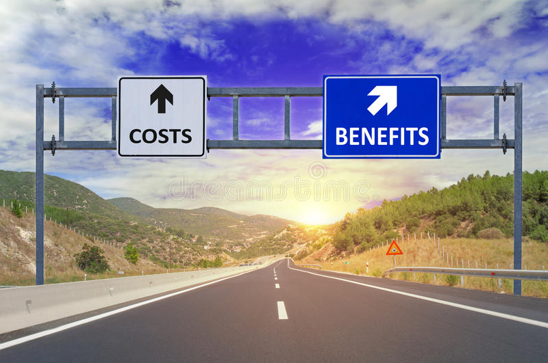 Two options Costs and Benefits on road signs on highway. Close royalty free stock photo