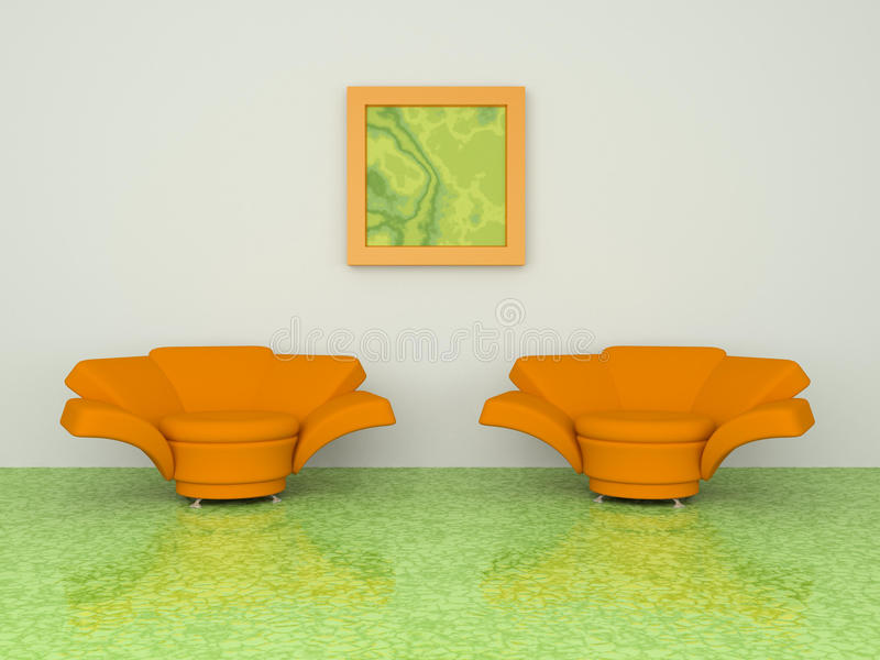 Download Two orange armchair stock illustration. Image of wall - 12726348