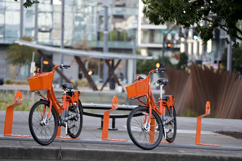 Two orange bikes for him and her expect couple at the rent station in the modern city royalty free stock images