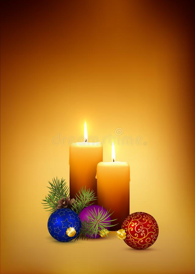 Two Orange Candlelights for Second Advent 2nd Week on Golden Brown Background. stock image