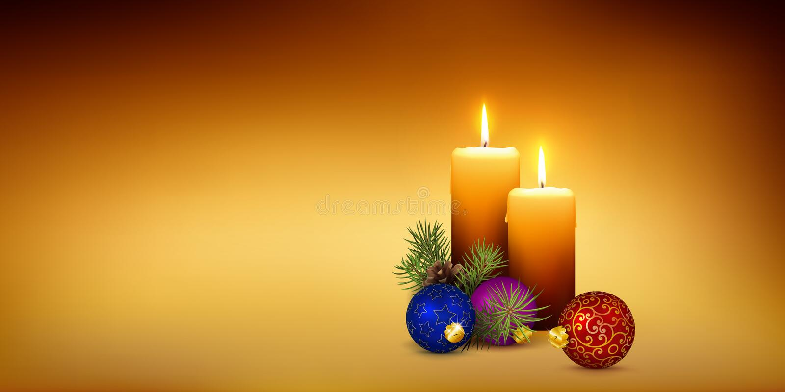 Two Orange Candles on Golden Brown Background - Panorama royalty free stock images