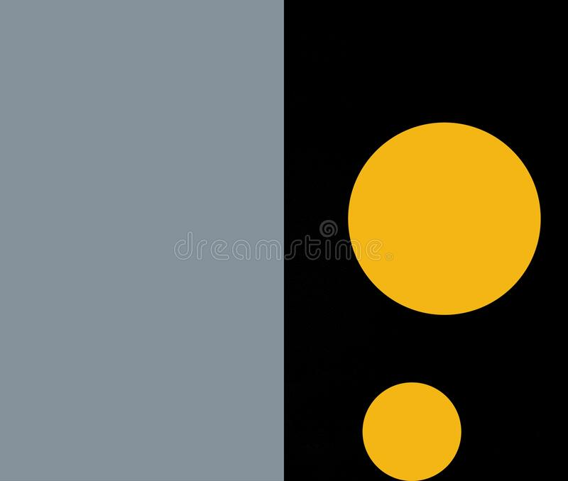 The two orange color shape of circle with two grey and black color background stock photography