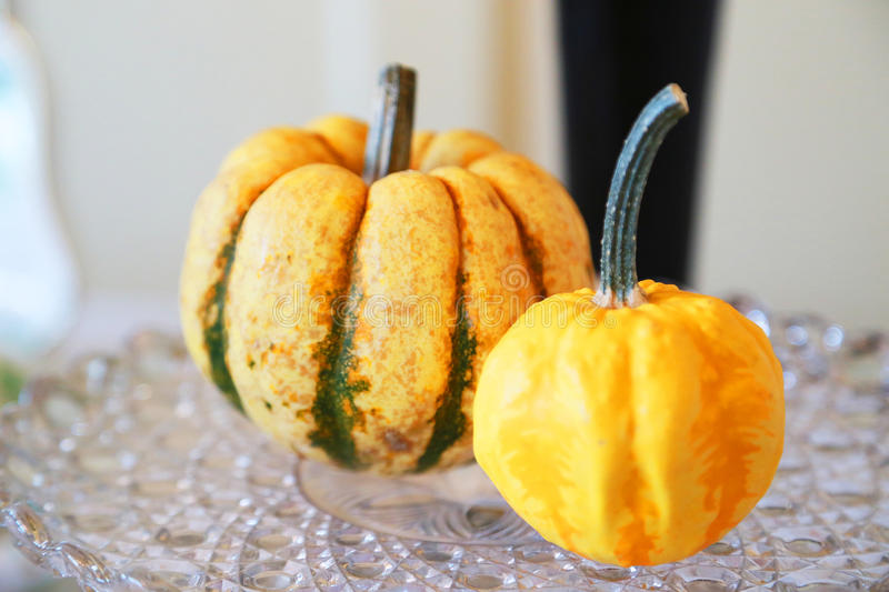 Two orange pumpkins. On the table royalty free stock images