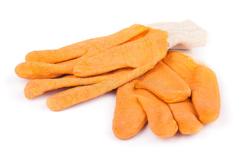Download Two orange rubber gloves stock image. Image of safety - 28744653