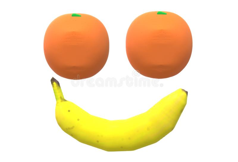 Two oranges and a banana arranged in the shape of a smiling face royalty free stock images