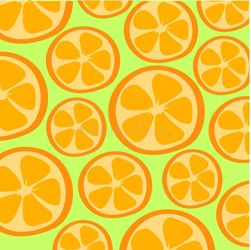 Two oranges on the green background. Vector illustration stock illustration