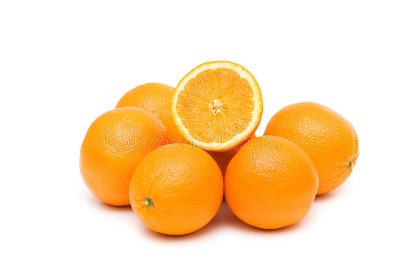 Two oranges isolated stock images