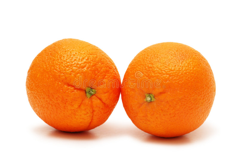 Two Oranges Isolated On The Wh Stock Photography